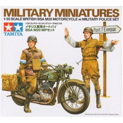 POLICIAS MILITARES BRITANICOS & MOTOCICLETA BSA M20 1/35 - Tamiya 35316