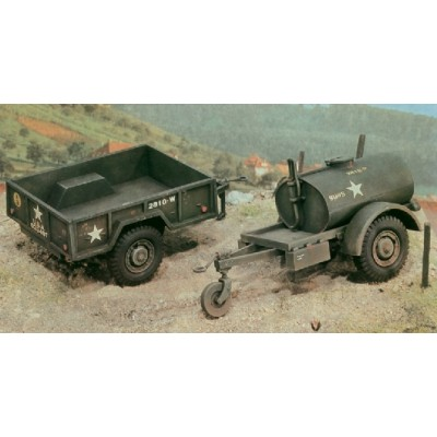 REMOLQUES: TRAILER COMBUSTIBLE (250 gal) Y TRAILER CARGA M-101 - ESCALA 1/35 - ITALERI 229