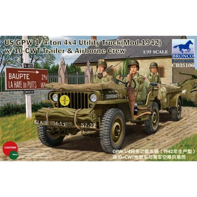 VEHICULO TODOTERRENO JEEP WILLY (Mod. 1.942) Y TRAILER 10-CWT Y Paracaidistas U.S. Army