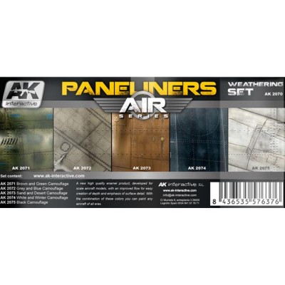 AIR series: AIRCRAFT PANELINERS WEATHERING SET (5 botes)