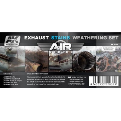 AIR series: AIRCRAFT EXHAUST STAINS WEATHERING SET (5 botes)