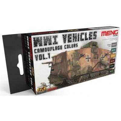 SET COLORES VEHICULOS 1ª Guerra Mundial Vol.1 (6 botes) MENG MC804
