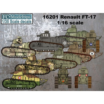 CALCAS RENAULT FT-17 & M1917 Six Ton Tank 1/16 - FC Modeltips 16201