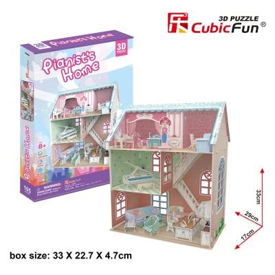 PUZZLE 3D CASA MUÑECAS PIANIST´S HOME (294 x 170 x 330 mm) 105 pzs. - CUBIC FUN CFP684