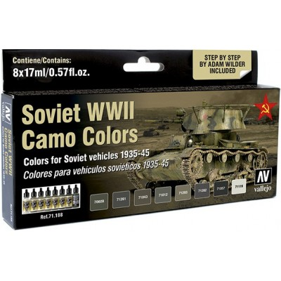 MODEL AIR SET: SOVIET WWII CAMO COLORS (8 BOTES 17ML)- ACRILICOS VALLEJO 71188