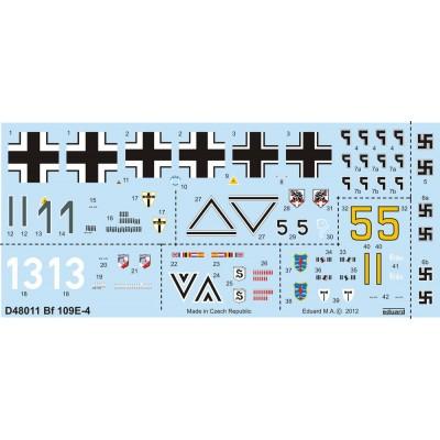 CALCAS MESSERERSCHMITT Bf-109 E 1/48 - Eduard D48011