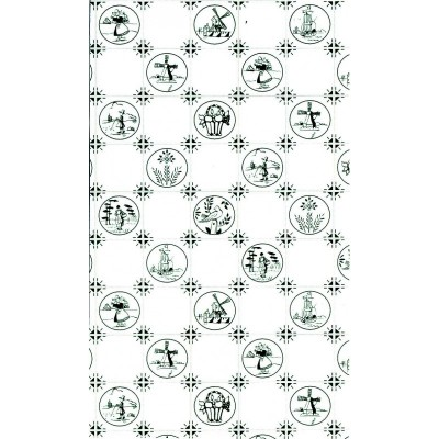 PAPEL PARED AZULEJO VERDE DELF (300 x 450 mm) - Chaves 36807