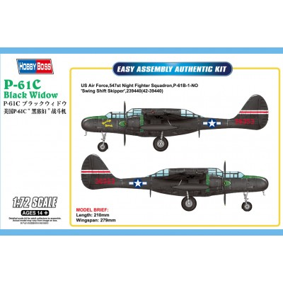 NORTHROP P-61 C BLACK WIDOW 1/72 - Hobby Boss 87263