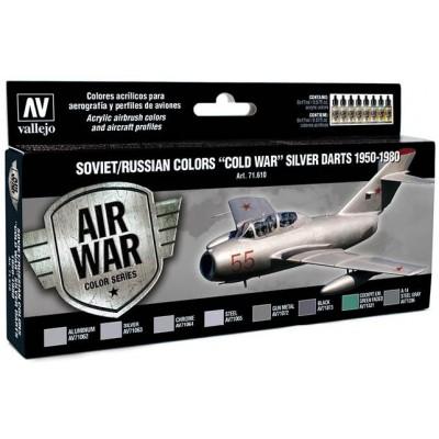 MODEL AIR SET: SOVIET-RUSSIAN AF COLD WAR SILVER DARTS COLORS (8 BOTES 17ML) - ACRILICOS VALLEJO 71610