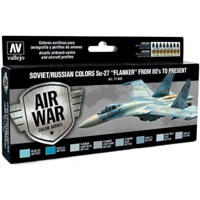 MODEL AIR SET: SOVIET-RUSSIAN AF SUKHOI SU-27 FLANKER COLORS (8 BOTES 17ML) - ACRILICOS VALLEJO 71602