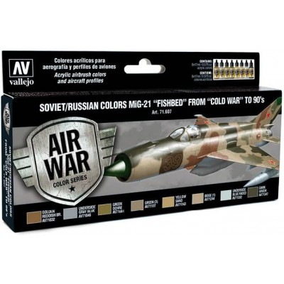 MODEL AIR SET: SOVIET-RUSSIAN AF MIG-21 FISHBED COLORS (8 BOTES 17ML) - ACRILICOS VALLEJO 71607