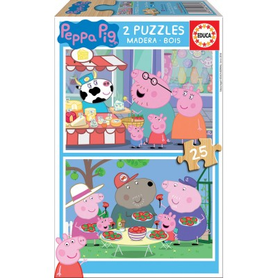PUZZLE MADERA 2 x 25 Pzas PEPPA PIG - Educa 18078
