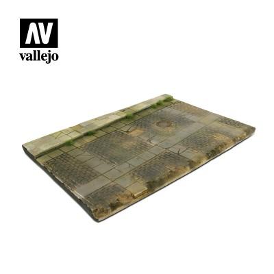 Scenics: BASE CALLE ADOQUINADA CON ACERA (310 x 210 mm) -1/35- Acrylicos Vallejo SC103