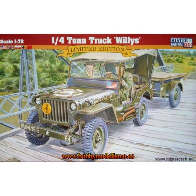 JEEP WILLYS & REMOLQUE 1/72 - Mister Craft Hobby 042998