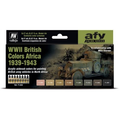 SET COLORES BRITISH COLORS AFRICA 1939-1943 -8 botes- Acrylicos Vallejo 71622