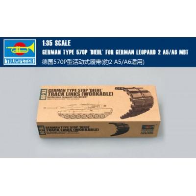 """SET ORUGAS Type 570P """"DIEHL"""" LEOPARD 2 A5/A6 -1/35- Trumpeter 02039"""