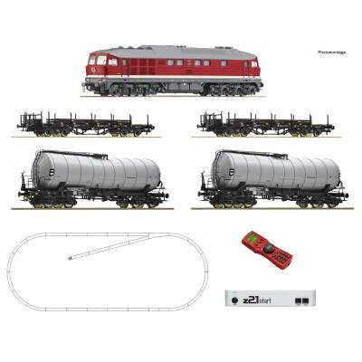 EQUIPO DIGITAL Locomotora Diesel clase 142 & Vagones Carga DR -H0 / 1/87- Roco 51327