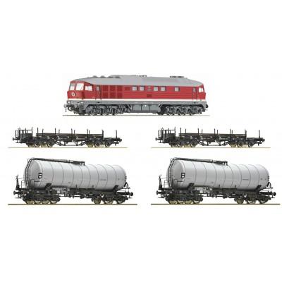 EQUIPO DIGITAL Locomotora Diesel clase 142 (Sonido) & Vagones Carga DR -H0 / 1/87- Roco 51328