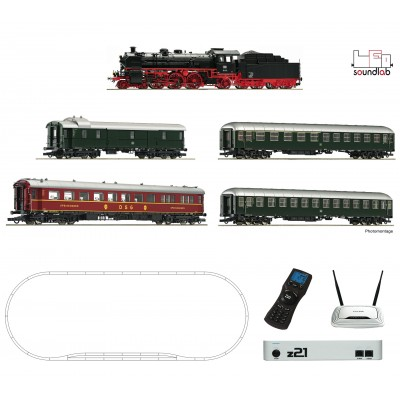 EQUIPO DIGITAL Z21 WiFi, Locomotora de vapor serie 18.6 & Coches Viajeros -H0 / 1/87- Roco 51313
