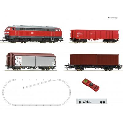 EQUIPO DIGITAL Locomotora Diesel clase 218 & Vagones Mercancias DB -H0 / 1/87- Roco 51312