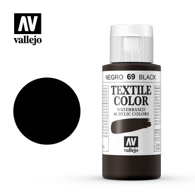 Textile Color: NEGRO (60 ml) - Acrilicos Vallejo 40069