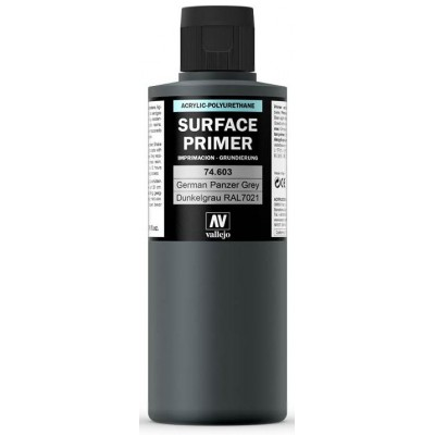 SURFACE PRIMER: GRIS PANZER RAL 7021 (200 ml) - Acrylicos Vallejo 74603