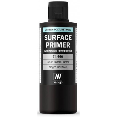 SURFACE PRIMER: NEGRO BRILLANTE (200 ml) - Acrylicos Vallejo 74660