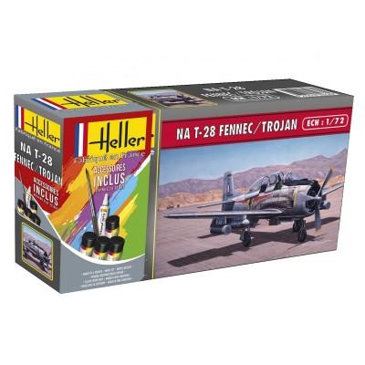 NORTH AMERICAN T-28 TROJAN CON PINTURAS PINCEL Y PEGAMENTO - ESCALA 1/72 - HELLER 56279