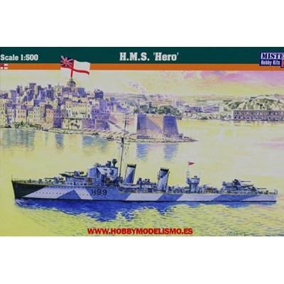 DESTRUCTOR BRITANICO HMS HERO WWII - ESCALA 1/500 - MISTERCRAFT 002978 - S9