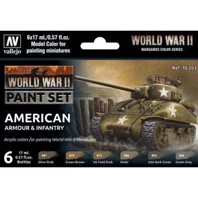 SET COLORES SET AMERICAN ARMOUR & INFANTRY -6 botes- Acrylicos Vallejo 70203