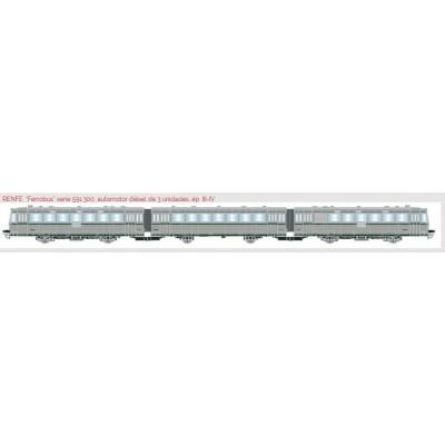 FERROBUS DIESEL RENFE 591.400 (3 unidades) Ep. IV -H0 - 1/87- Digital - Electrotren E3621D