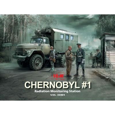 CHERNOBYL Nº1: ESTACION DE MONITORIZACION DE RADIACION ( Camion ZiL-131KShM & Figuras & Caseta) -1/35- ICM 35901