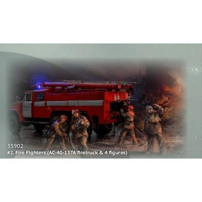 CHERNOBIL Nº2: SET BOMBEROS ( Camion Bomberos AC-40-137A & Figuras) -1/35- ICM 35902