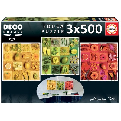 PUZZLE 3 X 500 PZS EXOTIC FRUITS AND FLOWERS - EDUCA 18454
