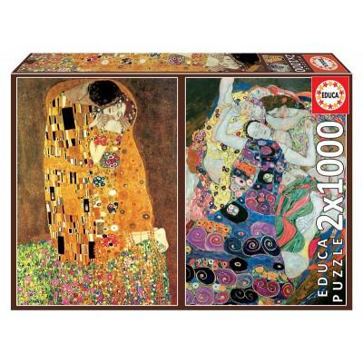 PUZZLE 2x1000 pzas EL BESO & LA VIRGEN, Gustav Klimt - EDUCA 18488