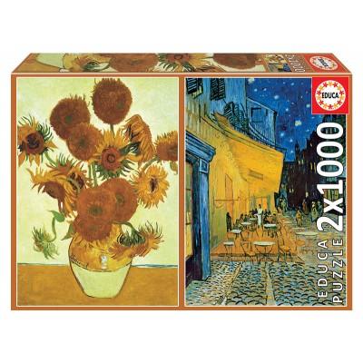PUZZLES 2 X 1000 pzas LOS GIRASOLES & TERRAZA DEL CAFE POR LA NOCHE, Vicent Van Gogh - EDUCA 18491