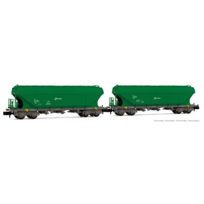 Pack 2 VAGONES TOLVA TT5 (Verde) RENFE Ep. V -N - 1/160- Arnold HN6506