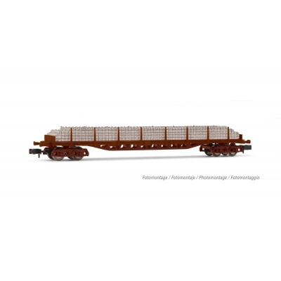 VAGON PLATAFORMA TRAVIESAS DE CEMENTO (Rojo oxido) RENFE Ep. IV -N - 1/160- Arnold HN6503