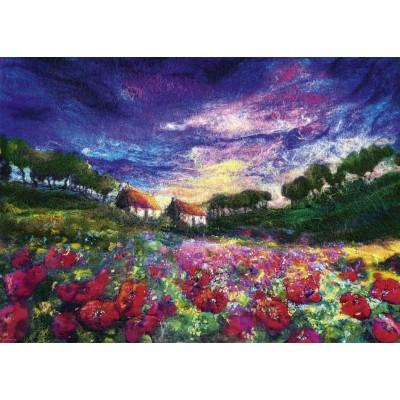 PUZZLE 1000 pzas FELTED ART SUNDOWN POPPIES - Heye 29917