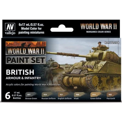 MODEL COLOR SET WWII BRITISH ARMOUR & INFANTRY (6 BOTES 17ml)