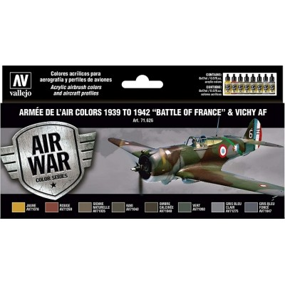MODEL AIR SET : ARMEE DE L AIR COLORS 1938 - 1942 BATTLE OF FRANCE AND VICHY AF (8 BOTES 17 ml) VALLEJO 71626