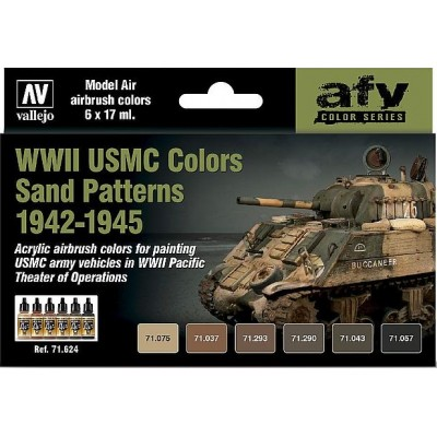 MODEL AIR SET : WWII USMC COLORS SAND PATTERNS 1942-1945 (6 BOTES 17 ml)