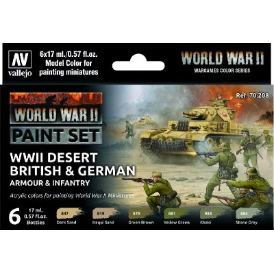 MODEL COLOR SET WWII DESERT BRITISH & GERMAN ARMOUR & INFANTRY (6 BOTES 17ml)