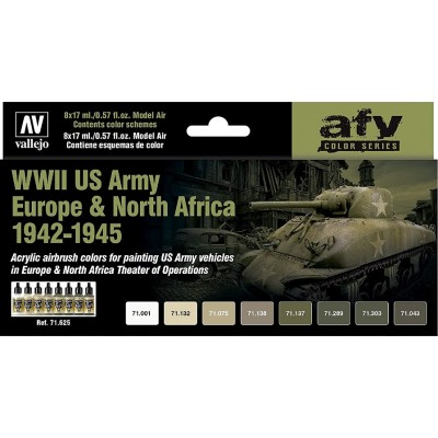 MODEL AIR SET : WWII US ARMY EUROPE & NORTH AFRICA 1942-1945 (8 BOTES 17 ml) VALLEJO 71625