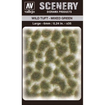WILD TURF - MIXED GREEN (L: 6 mm x 35 unidades) - Acrylicos Vallejo SC416