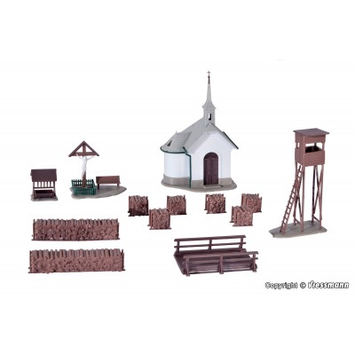 CAPILLA DE MONTAÑA CON ACCESORIOS (60 x 60 x 100 mm) -Escala H0 / 1/87- Kibri 39780