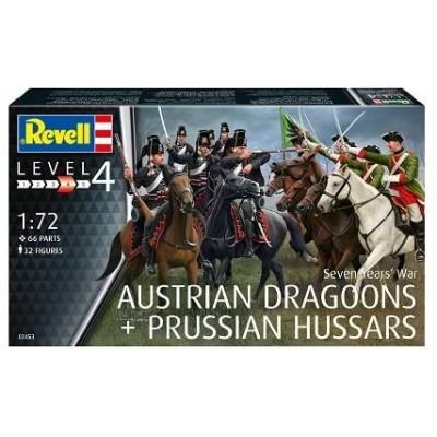 Guera de los 7 años: DRAGONES AUSTRIACOS & HUSARES PRUSIANOS -Escala 1/72- Revell 02453
