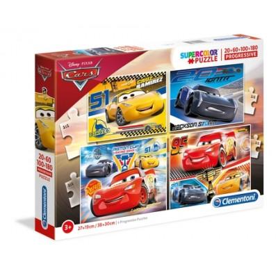 PUZZLE PROGRESIVO 20 + 60 + 100 + 108 Pzs CARS 3 - Clementoni 07714