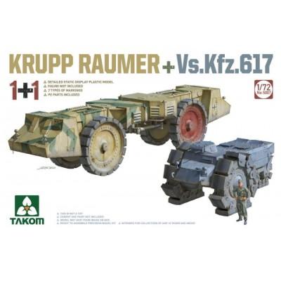SET VEHICULOS DESMINADORES KRUPP RAUMER & Vk.Kfz. 617 -Escala 1/72-Takom 5007