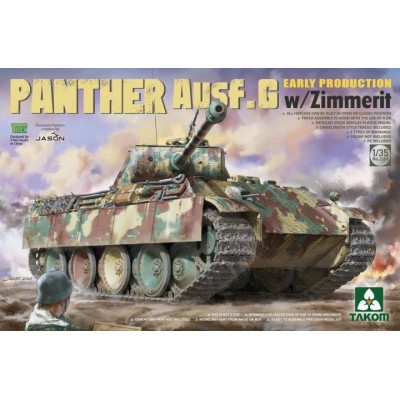 CARRO DE COMBATE Sd.Kfz. 171 Ausf. G (Early) PANTHER & Zimmerit -Escala 1/35- Takom 2134